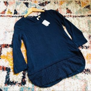 NWT Anthro. Moth Navy Button Back Sweater Size M